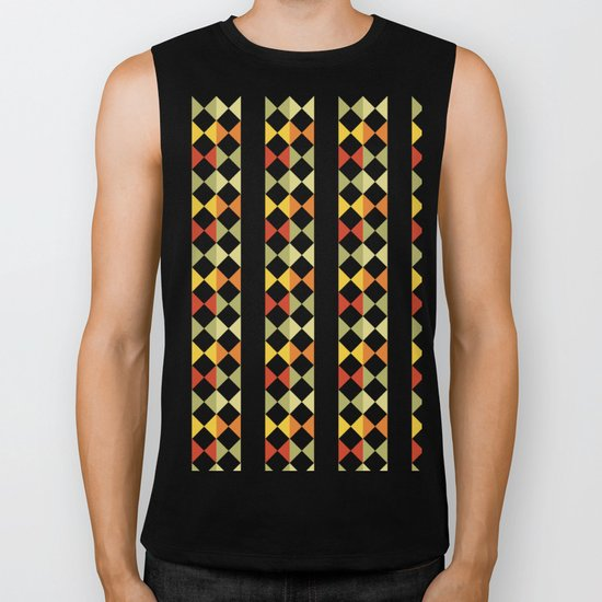 Checker diamond style colorful pattern with black and white Biker Tank