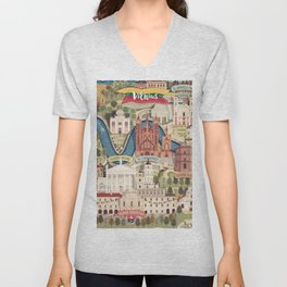Vilnius, the capital city of Lithuania Unisex V-Neck