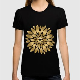 Pretty gold faux glitter abstract flower illustration T-shirt