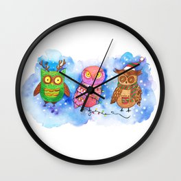 Christmas Owlies v2.0 Wall Clock