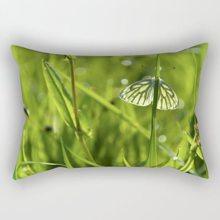 Butterfly in fresh morningmeadow Rectangular Pillow