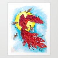 phoenix Art Prints featuring Phoenix by missfortunetattoo
