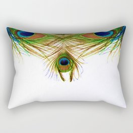 GORGEOUS BLUE-GREEN PEACOCK FEATHERS ART Rectangular Pillow