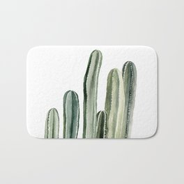 Tall Cacti Watercolor Painting Bath Mat