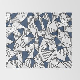 Abstraction Lines with Navy Blocks Throw Blanket