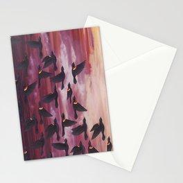 red-winged blackbird flock in flight Stationery Cards