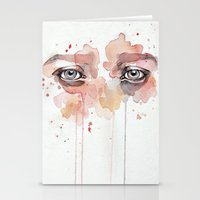 study Stationery Cards featuring Missing you, watercolor eye study by Jane-Beata