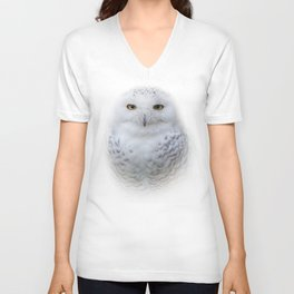 Dreamy Encounter with a Serene Snowy Owl Unisex V-Neck