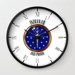 Indiana Proud Flag Button Wall Clock