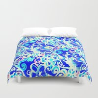 hippy Duvet Covers featuring Hippy Cobalt Funky Flowers by RokinRonda