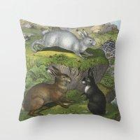 beaver Throw Pillows featuring Rabbits & Beaver by Connie Goldman