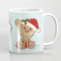 teddy bear Mugs featuring Teddy bear by Toru Sanogawa