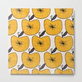 Pop Fruit Apple Yellow Metal Print