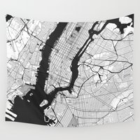 new york map Wall Tapestries featuring New York Map Gray by City Art Posters