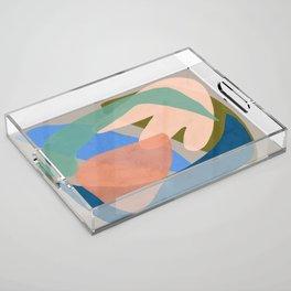 Shapes and Layers no.30 - Large Organic Shapes Blue Pink Green Gray Acrylic Tray