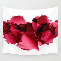 lips Wall Tapestries featuring Lips by Living Pixel Studio