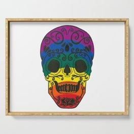 rainbow skull Serving Tray