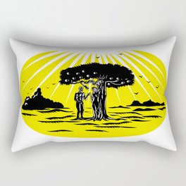 Adam and Eve Serpent Tree Woodcut Rectangular Pillow