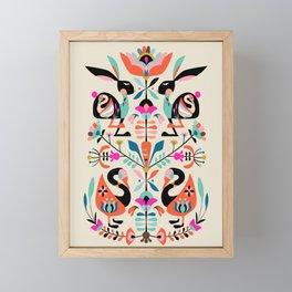 Rabbit folk art Framed Mini Art Print