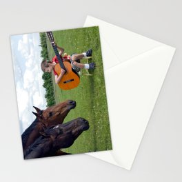 Playing to an audience of horses Stationery Cards