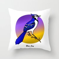 jay fleck Throw Pillows featuring BLUE JAY by SCREAMNJIMMY