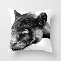 panther Throw Pillows featuring Panther by Mark Matlock