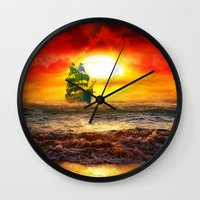 pirate ship Wall Clocks featuring Black Pearl Pirate Ship by Electra