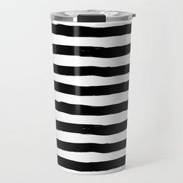 Modern black white watercolor hand painted brushstrokes stripes Travel Mug