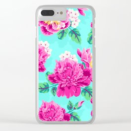 Bright Flowers Pretty Peonies Clear iPhone Case