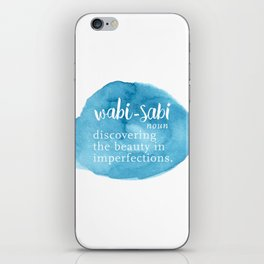Wabi Sabi Word Nerd Definition - Blue Watercolor iPhone Skin
