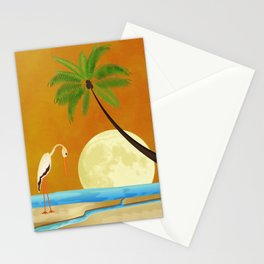 Tropical Coastal Abstract Original Surreal Painting On Fire By Liane Wright Stationery Cards