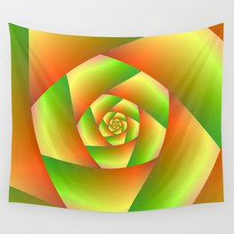 Spiral in Yellow Orange and Green Wall Tapestry