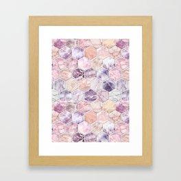 Rose Quartz and Amethyst Stone and Marble Hexagon Tiles Framed Art Print