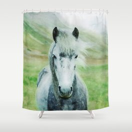 White horse close up watercolor painting Shower Curtain