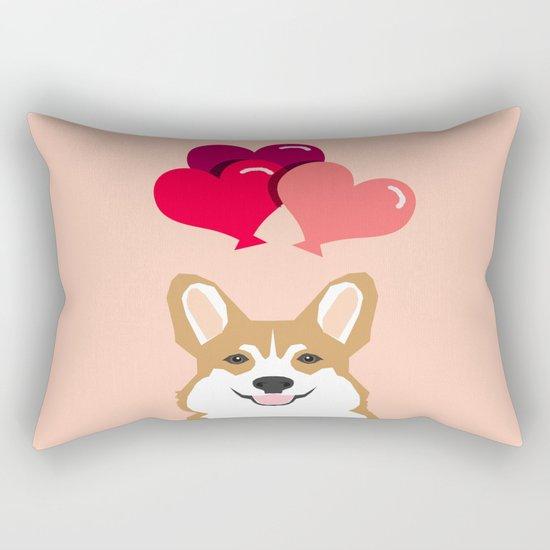 Corgi Heart Balloon - Cute Valentines Corgi, Dog, Pet, Cute, Animal, Dog Love, Corgi, Wuff You,  Rectangular Pillow