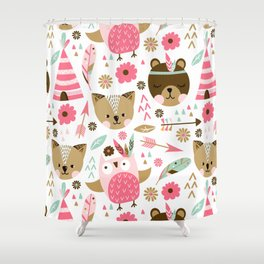 Camping with friends Shower Curtain