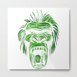 GORILLA KING KONG - Green Metal Print