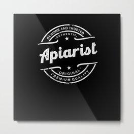 Apiarist retro vintage distressed logo stamp Metal Print