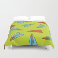 planes Duvet Covers featuring Paper Planes by evannave