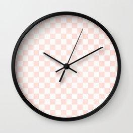 Pink Coral Checkers Wall Clock
