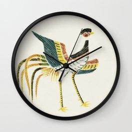 Fiine traditional Japanese art, crane bird from by Taguchi Tomoki. Wall Clock