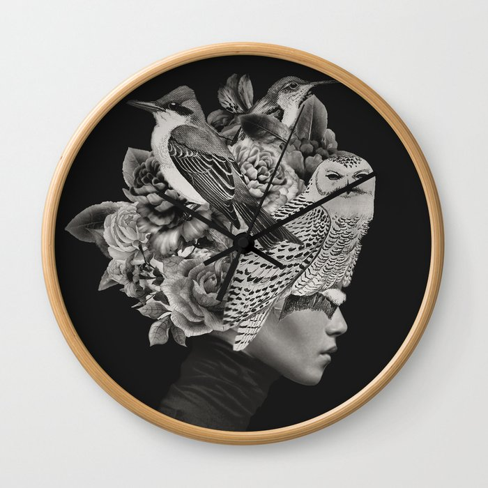 Lady with Birds(portrait) Wall Clock