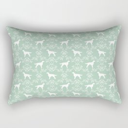 Irish Setter floral dog breed silhouette minimal pattern mint and white dogs silhouettes Rectangular Pillow