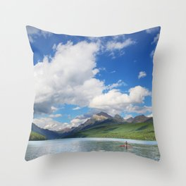 Paddleboarding in Glacier National Park Throw Pillow