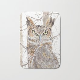 "Watercolor Painting of Picture ""Owl in the Forest"" Bath Mat"