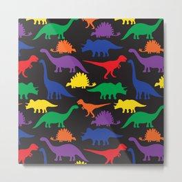 Dinosaurs - Black Metal Print