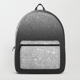 Modern faux silver glitter ombre grey black color block Backpack