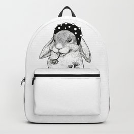 Cute rabbit in hair band with some flowers Backpack