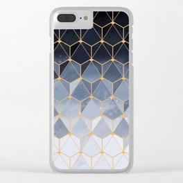 Blue gold hexagonal pattern Clear iPhone Case