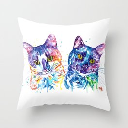 2 Kitties Hanging Out Throw Pillow